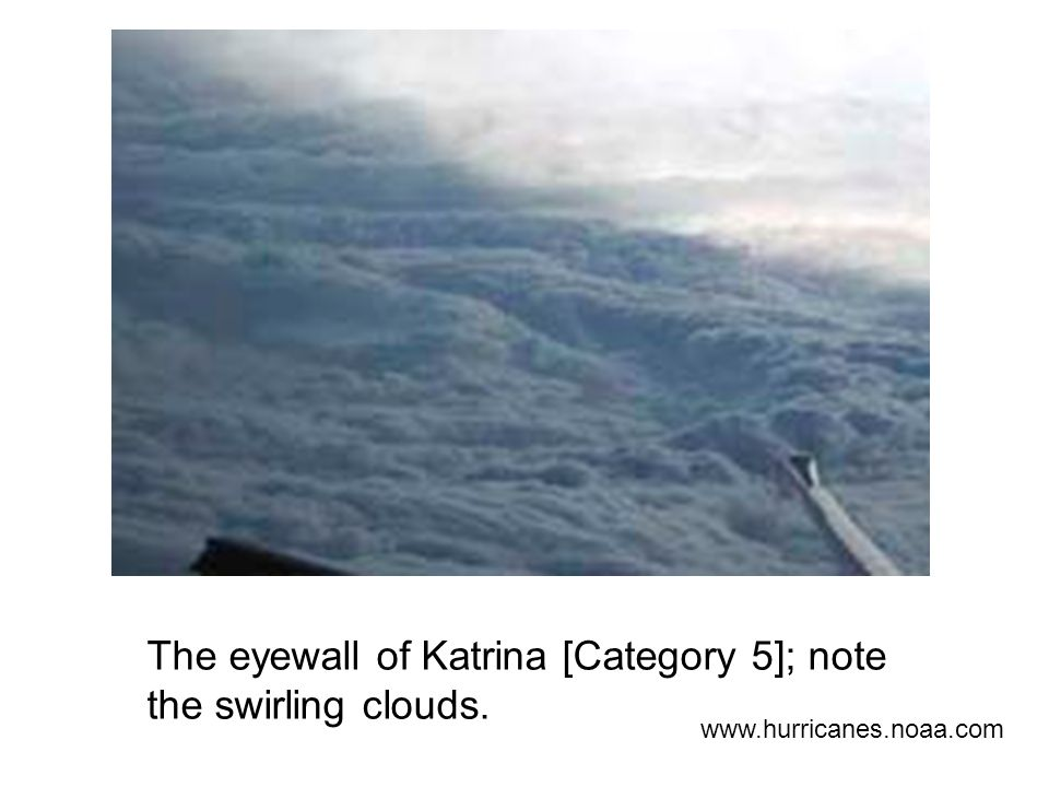The eyewall of Katrina [Category 5]; note the swirling clouds.